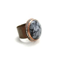 Snowflake Obsidian Copper Cocktail Ring Gemstone Copper Ring Black and White Stone Ring Size 7.5 Wide Band