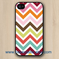 Colorful Various Chevron on Black Iphone 4 case, Iphone 4S case, Plastic hard case, Waterproof iphone case