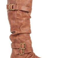 tall ruched riding boot with buckles and straps