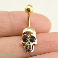 belly ring,skull Belly Button Rings,gold skull Navel jewelry,belly button jewelry,friendship belly rings,bellyring