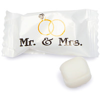 Mr. & Mrs. Wedding Theme Wrapped Buttermint Creams: 300-Piece Case
