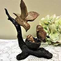 Birds Cast Iron Gold Brown Figurines Home Decor Nest Babies Metal Wildlife blm