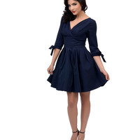 Unique Vintage 1950s Style Navy Blue Three-Quarter Sleeve Diana Fit & Flare Dress