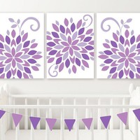 Purple Nursery Wall Art, Baby Girl Nursery Flower Decor Canvas or Prints Purple Flower Bedroom Pictures, Set of 3 Girl Crib Decor Pictures