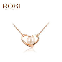 ROXI Best Friend Gift New Fashion Jewelry Rose Gold Color Chain Heart Pearl Pendant Necklace For Women Wedding 2030428275B