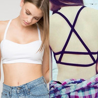 Women Bralette Bras Caged Back Cut Out Padded Bralet Crop Top Brassiere 2 Colors