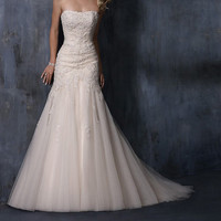 2014 A line mermaid bridal wedding dress sleeveless lace applique formal evening dress backless party dress
