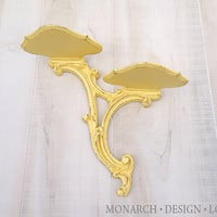Yellow Plate Shelf, Distressed Shabby Chic Chippy Rustic Scroll Design