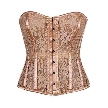 Daisy Corsets Top Drawer Tan Lace Molded Cup Corset