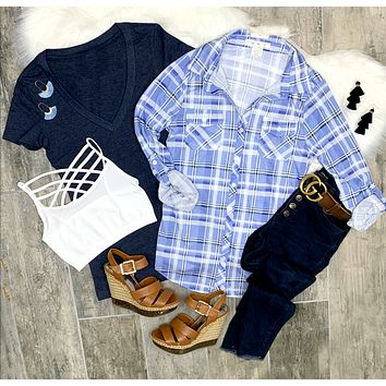 Penny Plaid Flannel Top - Blue/Ivory