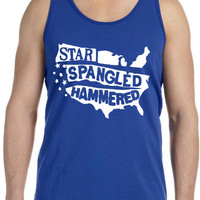 Star Spangle Hammered - 4th of July - Merica - Summer Tank - Cookout - Unisex Jersey Tank
