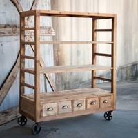 Vintage-Style Rolling Factory Shelves