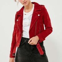 BLANKNYC Red My Mind Suede Moto Jacket | Urban Outfitters