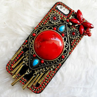 Red Retro Accessories Studded iPhone Case, iPhone 4 Case, iPhone 5 Case , Swarovski Crystal iPhone 4s Case,
