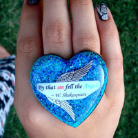 Quote Double Finger Ring  Large Heart  with Blue by amorymuertos