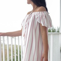 In Your Eyes Red Striped Off the Shoulder Dress