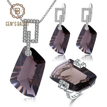 GEM'S BALLET 925 Sterling Silver Natural Smoky Quartz Jewelry Set Geometric Necklace Earrings Ring Set For Women Wedding Jewelry