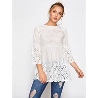 White Eyelet Embroidered Scallop Trim Smock Blouse