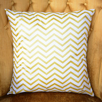 "Easter Sale! White and Gold Chevron Pillow Cover. One 18"" x 18"". Sofa Pillow Cover. White Gold Chevron Toss Pillow. Decorative Throw Pillow."