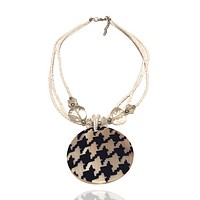 Abalone Beaded Statement Graphic Necklace Gingham