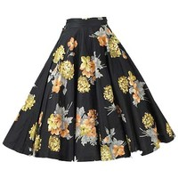 1950s Black Floral Circle Skirt-50s Swing Skirts