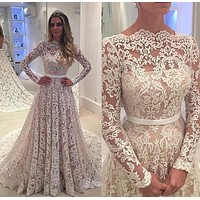 Lace Wedding Dress With Sleeves, Bridal Gown ,Dresses For Brides, PM0051