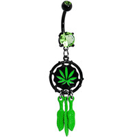 Peridot Gem Black Ganga Leaf Dreamcatcher Belly Ring | Body Candy Body Jewelry