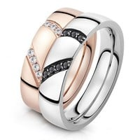 Engraved Matching Split Hearts Titanium Soulmates Rings