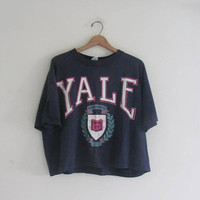 vintage 1980s YALE cropped tshirt / free size