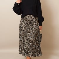 Leopard Pleated Midi Skirt
