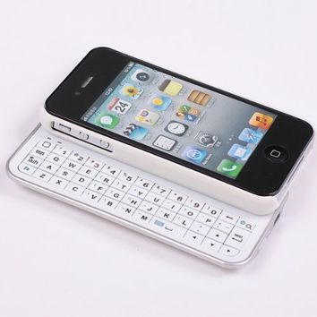SQdeal® High Quality Classic White Bluetooth Wireless Keyboard Case Cover for Apple iPhone 4 4s