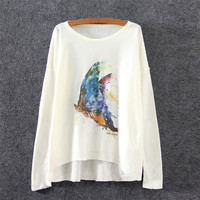 White Butterfly Print Casual Sweatshirt