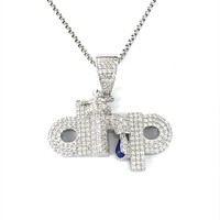 Sterling Silver Drip Tap Icy Micro Pave Pendant Hip Hop