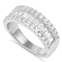Sterling Silver Baguette Cut Simulated Diamond Ring