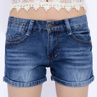New Fashion Women Shorts Sexy Slim Denim Short High Waist Jeans Shorts Crimping Hot Shorts Summer Beach Plus Size