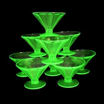 Estate Federal Green Depression Glass Fluted Sherbets or Champagne Coups X9