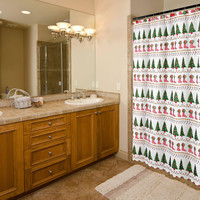 """Felices Pascuas Collection Christmas Fabric Shower Curtain (70"""" x 72"""") with Matching Xmas Set Hooks - Christmas Time"""