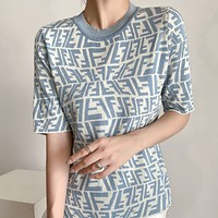 FENDI Embroidered Letters Ladies Knit Shirt Top Tee