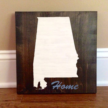 Customizable Alabama Wood Sign, Stained and Hand Painted, Choose Colors, Home decor