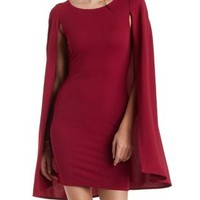 Wine Bodycon Cape Dress by Charlotte Russe