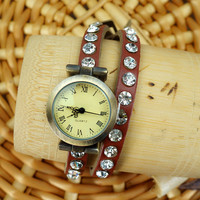 Traditional Leather in Rhinestone Belt Double Wraps Watch
