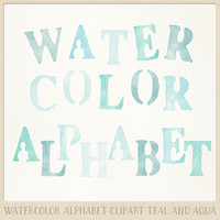 Watercolor alphabet clip art (104 pc) mint teal aqua blue turquoise. hand painted clipart letters for design blogs cards printables wall art