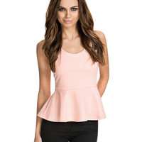 Pink Sleeveless Cross Back Peplum Top