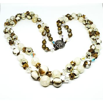 Gold and white Austrian crystal double two strand beaded mid century necklace