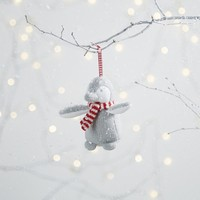 Knitted Snowy Penguin Decoration - Grey