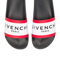 Givenchy Slide Sandals in Black, White & Red | FWRD