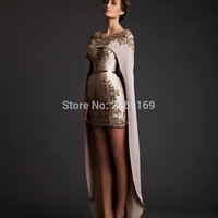 Saudi Arabia removable cape Dresses Short Front Long Back gold decals Prom Gowns O Neck Lace Embroidery with Shawl Evening Dress