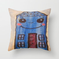 blue house Throw Pillow by helendeer