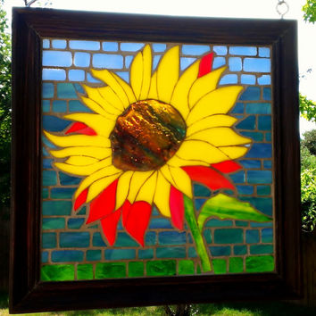Stained Glass Sunflower Framed Mosaic GOG Fall Sun Catcher Free Shipping