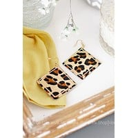 Fabric Square Earring W/ Gold Square Accent Trim